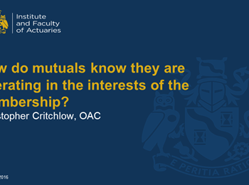 OAC speaks to senior life actuaries about the governance of Mutuals at IFoA event
