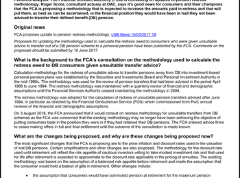 OAC's Interview with LexisNexis: FCA's consultation on pension redress methodology